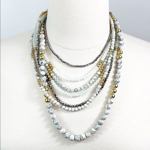 Talbots gold, gray, and gold beaded necklace